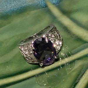 💥5/$25💥 Purple Emerald &Crystal Silver Ring Sz 5